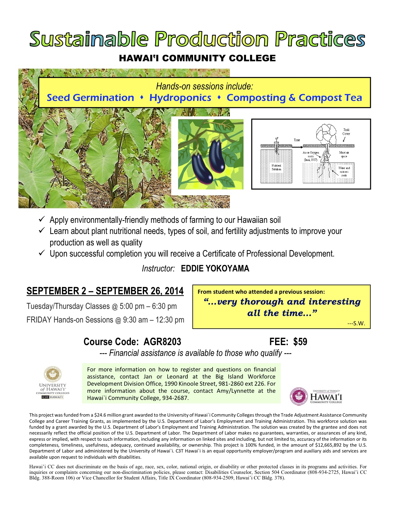 September Hcc Course Sustainable Production Practices Hmkua Ag